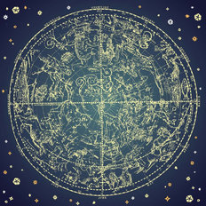 Vintage Zodiac Constellations Wall Mural