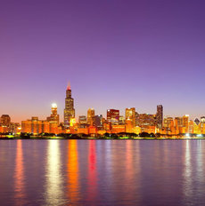 Violet Night In Chicago Mural Wallpaper