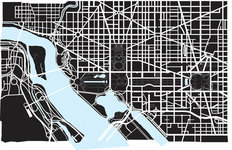 Washington DC Black And White Map Wallpaper Mural