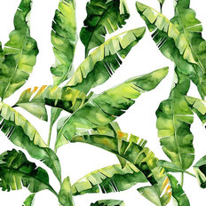 Watercolor Banana Leaf Pattern Wallpaper