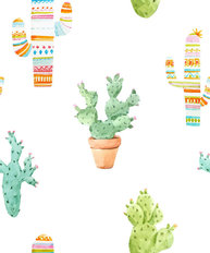 Watercolor Cactus Pattern Wallpaper