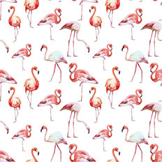 Watercolor Flamingos Wall Mural