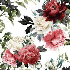 Watercolor Floral Pattern With Roses Wallpaper