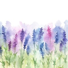 Watercolor Lavender Field Wallpaper Mural
