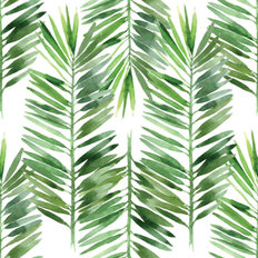 Watercolor Palm Tree Leaf Pattern Wallpaper
