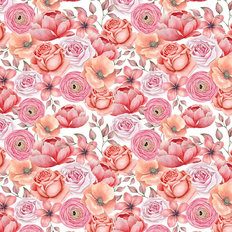 Watercolor Roses Mural Wallpaper