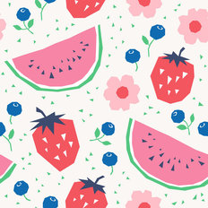 Watermelons and Strawberries Pattern Wallpaper