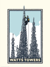 Watts Tower Climber Mural Wallpaper