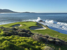 Waves Crashing at Pebble Beach Golf Links  Wallpaper Mural
