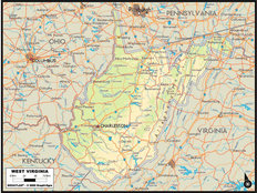 West Virginia Map Wallpaper Mural