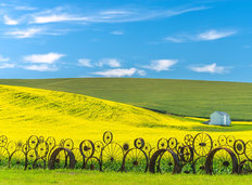 Wheels and Farm Fields Wall Mural