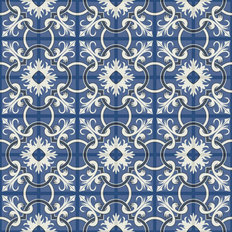 White and Blue Tile Pattern Wall Mural