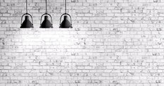 White Brick Wall with Lamps Wallpaper Mural