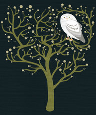 White Owl at Night Wall Mural