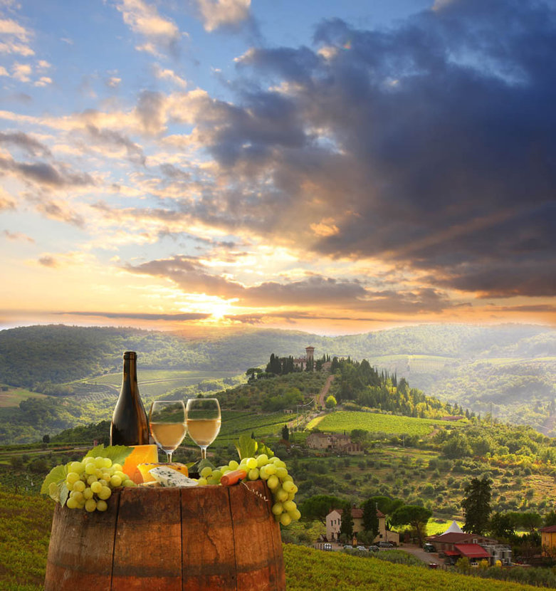 White Wine On A Barrel With Tuscan Background Wallpaper Mural