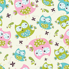 Whoo's Cute - Scatter Pattern - Eggshell/Multi Wallpaper