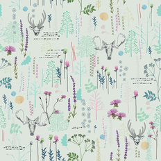 Wildflowers and Wildlife Pattern Wallpaper