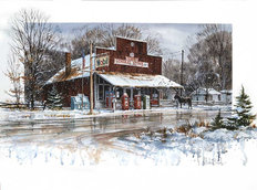 Winter At Cataract General Store Wallpaper Mural