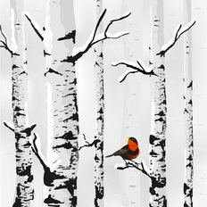 Winter Bird and Birch Wall Mural
