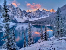 Winter Sunrise Over Moraine Lake Wall Mural