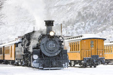 Wintertime Train Wall Mural