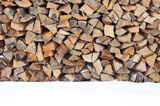 Wood Pile In Snow Wallpaper Mural