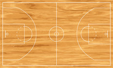 Wooden Basketball Court Wallpaper Mural