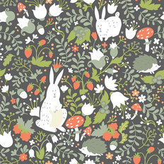 Woodland Friends Pattern - Light Wallpaper