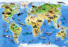 World Animal Atlas Wall Mural