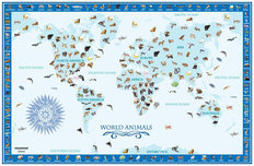 World Animals Map - Blue Wall Mural