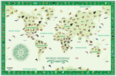 World Animals Map - Green Wall Mural