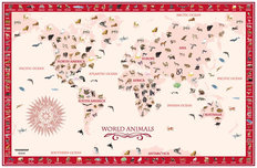 World Animals Map - Red Wall Mural