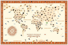 World Animals Map - Terra Cotta Wallpaper Mural