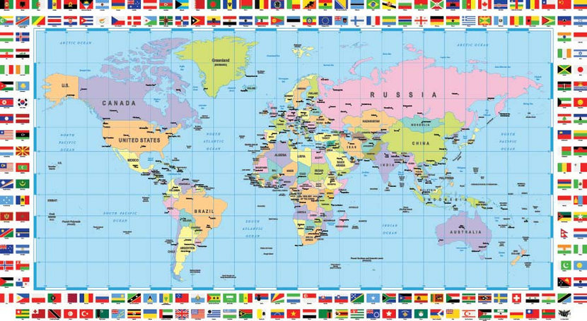 World Map And Flags Wall Mural