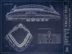 Wrigley Field Blueprint Wallpaper Mural