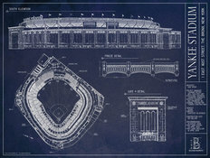 Yankee Stadium Blueprint Mural Wallpaper