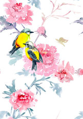 Yellow Birds and Peonies Pattern Wallpaper