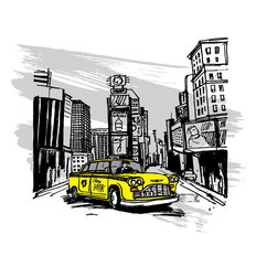 Yellow Cab In New York Wall Mural