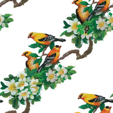 Yellow Finch Pattern Wallpaper