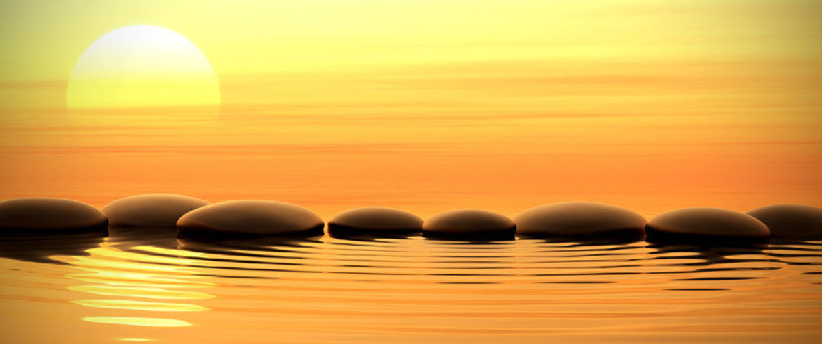 Sunset Stones Wall Mural